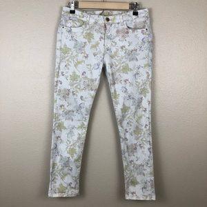 Zara Floral Birds Print Skinny Jeans